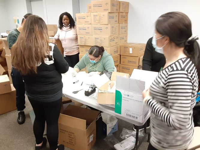 The team at NYC-based People Care prepare PPE distributions at one of four sites coordinated with HCA for New York City agencies to pick up vital supplies furnished by the New York City Department of Health.