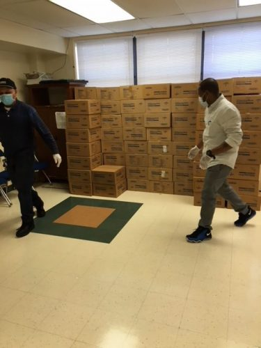 NYC-based Selfhelp Community Services staff prepare a PPE shipment at one of four sites coordinated with HCA for New York City agencies to pick up vital supplies furnished by the New York City Department of Health.